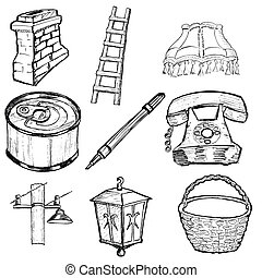 set of home related illustration - hand drawn, sketch set of...