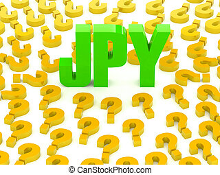 JPY sign surrounded by questions