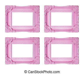 Four pink picture frames