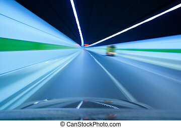 highway tunnel with motion blured
