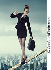 retrato, preocupado, empresa / negocio, mujer