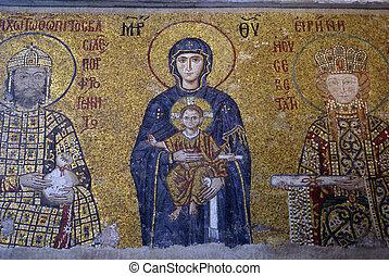 Mosaic on thewall of Hagya Sophya, Turkey