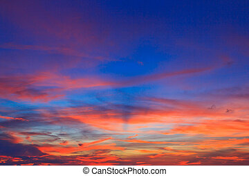 Sunset blue sky and clouds backgrounds