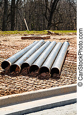 Cast Iron Pipes on Site