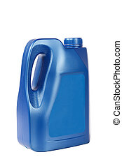 blue engine oil bottle - a blue plastic bottle of motor oil...