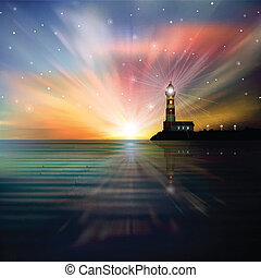 abstract background with silhouette of lighthouse - abstract...