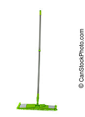 Mop - green mop isolated on white background