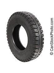 tyre - a truck tyre isolated on white background