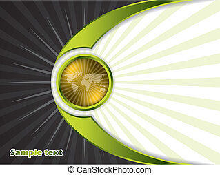 Abstract golden button with rays