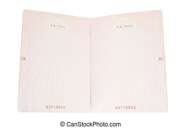 blank passport pages with white background