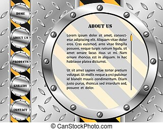 Metallic plate with screws web template