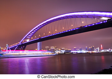 night view of the bridge in shanghai - night view of a...