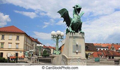 Dragon Bridge - secession monument, Ljubljana - Dragon...