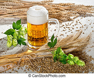 beer glass - beer and raw material for beer production