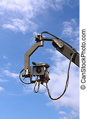 TV camera on crane - professional tv camera on a crane with...