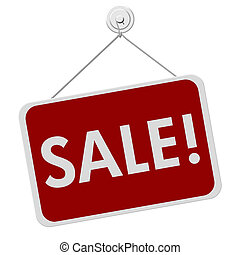 Sale Sign - A red and white sign with the word Sale isolated...