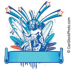 Poseidon, surfer, bandiera