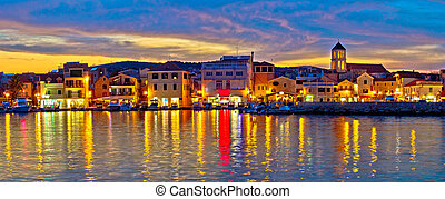 Colorful evening in Town of Vodice, Dalmatia, Croatia,...