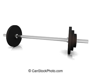 Barbell on floor - A barbell on the floor with white...