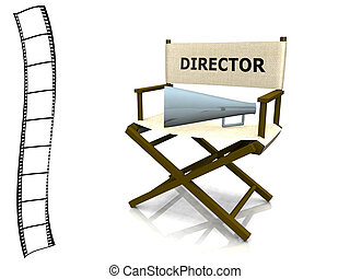 Director chair - A director chair with a megaphone on it and...