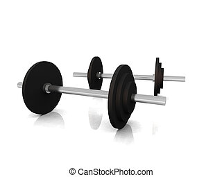A pair of dumbells on white background