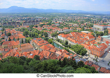 Ljubljana center and Ljubljanica river, Slovenia - Ljubljana...