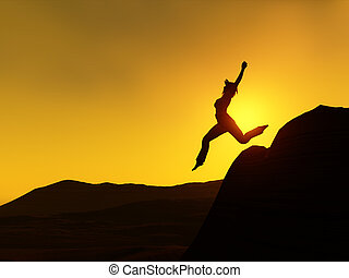Woman jumping - The silhouette of a woman jumping from a...