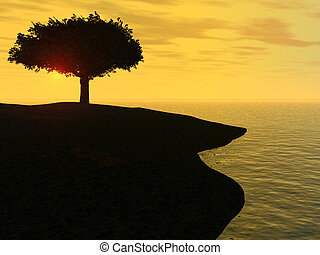 Sunrise by the ocean - A picture of a tree by the ocean...