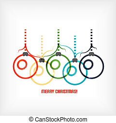Christmas balls vector line art background