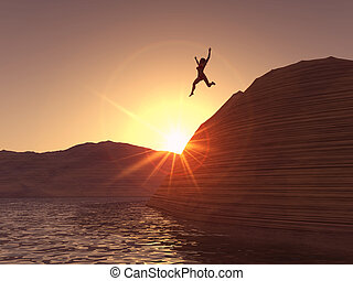 Woman jumping - A woman jumping from a cliff in to the...