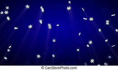 seamless loop snowfall on blue luma