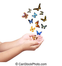 small hand releasing butterflies ,flying dreams - colorful...