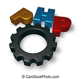 php tag and cogwheel on blue squared surface - 3d...