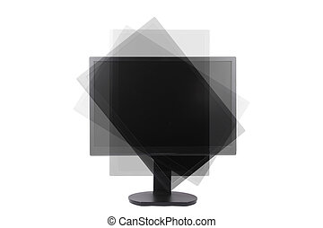 rotatable lcd monitor for computer isolated on white...