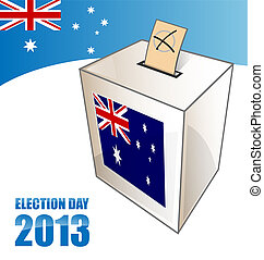 australian electoin day background with urn