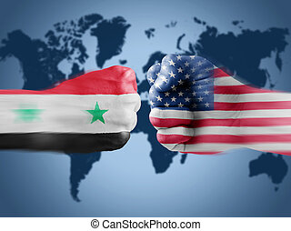 USA x Syria on World Map background