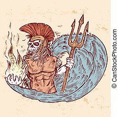 hand draw poseidon death color