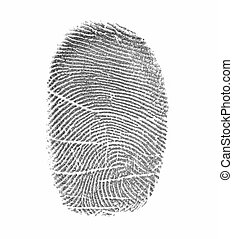 Fingerprint on a surface of a white paper