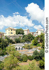 View of acient houses, Genoa, Italy - View of acient houses...
