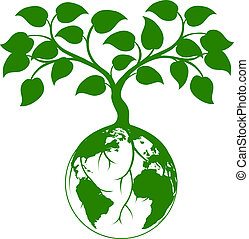 Earth tree graphic - Illustration of a tree growing with its...