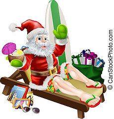 Surf Summer Santa - Christmas Santa Claus relaxing on the...