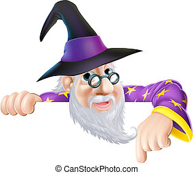 Wizard peeking over sign - An illustration of a wizard...
