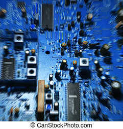 Circuit board - Colorful television/computer circuit board,...