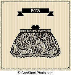 Bags. Vintage lace background, floral ornament.