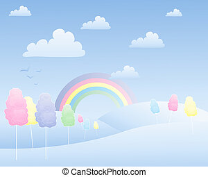 cotton candy landscape - an illustration of a fantasy cotton...