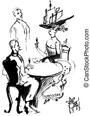 Lunch aristocrats, ink drawing