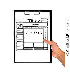 template web page - hand holding clipboard with template web...