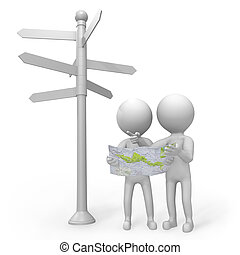 3d people standing at a signpost with a map - Two 3d people...