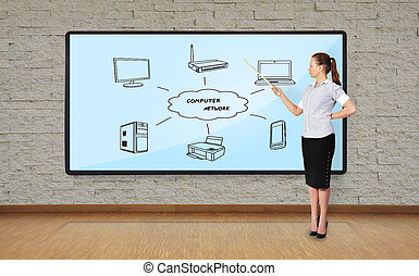 computer network - businesswoman in office pointing at...