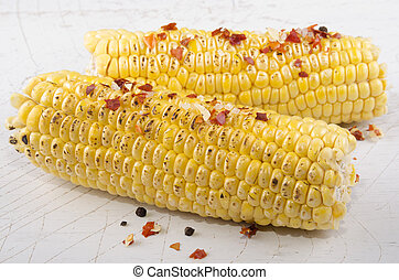 grilled corn on the cob with chili and garlic seasoning